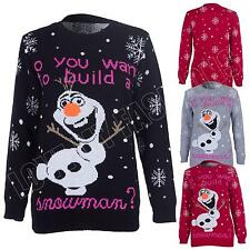 Kids Girls Boys Snowman Olaf Frozen Cartoon Novelty Knitted Christmas Jumper Top
