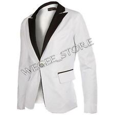 Men's Fashion Business One Button Slim Fit Dress Suit Jacket White Blazer Tuxedo