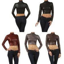 Sexy Tight Turtleneck Cropped Dull Foil Faux Leather Long Sleeve Top Tight Shirt