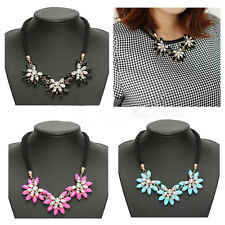 Hot Choker Bib Statement Chunky Collar Jewelry Newest Crystal Flower Necklace