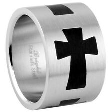 Stainless Steel Faith Love Hope Believe Good Luck Cross Wide Band Ring Size 9-15