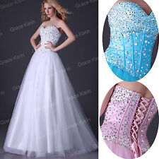 Long BEADED Corset Bridesmaid Formal Gown Ball Cocktail Evening Prom Party Dress