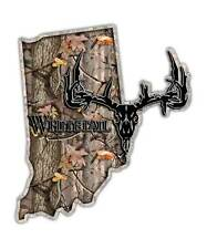 Indiana State Hunting Decal - Whitetail Deer Skull Camo Sticker IN