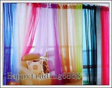 A Pair Organza Sheer Curtains 150x213cm White Black Purple Gold Green Pewter Red
