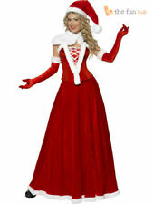 Ladies Deluxe Mrs Miss Santa Fancy Dress Costume Womens Father Christmas Outfit