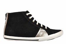 EMPORIO ARMANI EA7 WOMEN'S SHOES HIGH TOP SUEDE TRAINERS SNEAKERS BLACK  059
