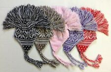 NWT Girl's Mohawk Winter Knit Hat Beanie Cap w/ Tassels NEW!