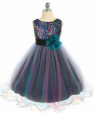 Girls Teal & Pink Sequined Party Dress Tulle Skirt Size 5 6 7 8 10 12 14