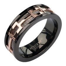 Inox Men's Stainless Steel Cable Rose Gold Window Black Spinner Ring NEW