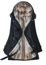 MANTEAU FEMME, PARKA DOUBLURE FAUSSE FOURRURE, HAIRY INSIDE LADY'S WARM COAT