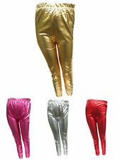 Girls Foil Leggings Gold, Silver, Red or Cerise Party Wet Look Shiny Ages 7Y-13Y