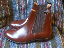 Sanders Chelsea boots in tan polished leather width fitting F+