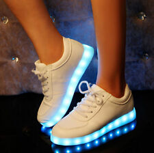 Fashion Women's LED Round Toe Lace Up 1 Pairs 8 Colors Flat Sneaker Shoes Boots