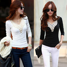 Korean Women's Slim Lace Cotton Tops Long Sleeve Tee Shirt Casual Ladies Blouse