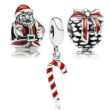 Christmas gift !silver Santa Claus & S Pine Cone  & Red Christmas Cane bead