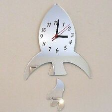 Rocket and Flame Mirrored Clock