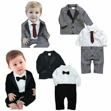 Baby Boy Winter Wedding Formal Dressy Party Tuxedo Suit Clothes Outfit Set 3-24M