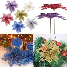 "6"" Christmas Flowers Xmas Tree Decorations Glitter Hollow Wedding Party Decor"