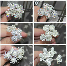 6Pcs New Wedding Bridal Crystal Flower Hair Pins Hair Clips Accessory