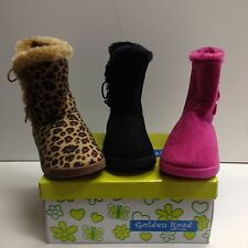 New Girls Winter Boots Faux Suede Warm Fur Lined Button Children Sz 10 - 2