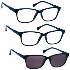 2 x Reading Glasses 1 x Sun Readers 3 Pack Mens Womens Navy Blue UVRSR3PK027