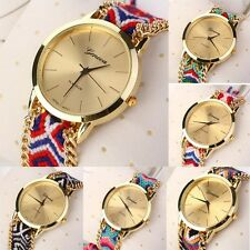 Women Knitted Braided Weaved Rope Band Bracelet Quartz Dial WristWatch Nice Gift