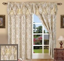 "2 Piece Penelopie Curtain Panels with Attached Austrian Valance - 84"" inch Long"