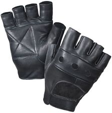 Black Fingerless Tactical Leather Outdoors Motorcycle Gloves 3498
