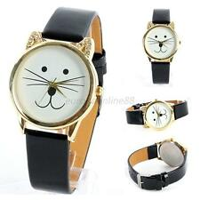 Trendy Women Girl Cat Face Dial Round Gold Rim Artificial Leather Wrist Watch