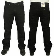 MENS LEE BROOKLYN STRAIGHT LEG REGULAR FIT STRETCH BLACK COLOUR JEANS 30 TO 44