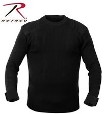 BLACK Military Army Commando Crew Neck Acrylic Sweater 6347