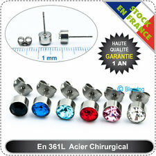 Boucle d'oreille Acier chirurgical Cristal Earring Steel Anti-allergiques