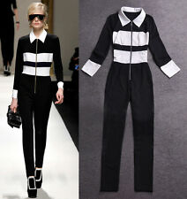 2014new arrival Europe and America fashion Stripe CONTRAST COLOR ZIPPER Jumpsuit