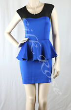 WOMENS CLOTHING SEXY LITTLE BLUE PEPLUM CLUB DRESS INCL PLUS SIZES