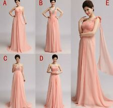 New Elegant Beading Pink 5 Type Long Chiffon Bridesmaids Dresses Party/Prom Gown