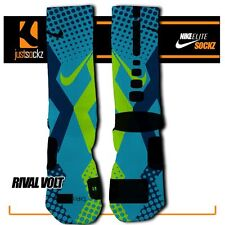 RIVAL VOLT Custom Nike Elite Socks athletic blue neon green girls volleyball lax