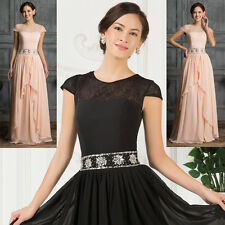 VINTAGE Cyber Monday Cap Sleeve Chiffon Ball Gown Evening Prom Party Dresses NEW