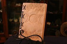 Small Customizable Wood & Leather Blank Journal, Book of Shadows - Triple Moon