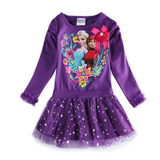 baby girl kids outfit frozen costume princess elsa anna party tutu dress 2-7Y