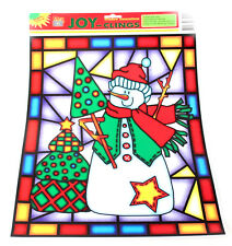 Christmas Mosaic Scen Reusable Window Clings Snowman Tree Jesus