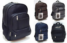 Mens Boys Plain Backpack Rucksack for School, College, Work - Laptop Compartment
