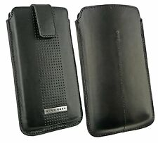 Original Hugo Black Boss Leather Case Cover Pouch fits Samsung I8700 Omnia 7