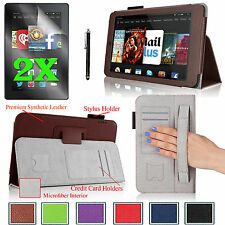 "for Amazon Kindle Fire HD 7""(2014) Folio PU Leather Case Cover Protectors Stylus"