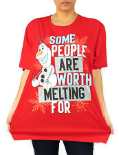 Frozen Olaf Some People Are Worth Melting For Red Glitter Plus Size T-Shirt