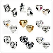 925 Sterling Silver Heart shape and Characters Bead fit European Charm Bracelet