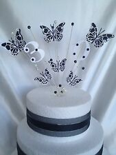 6 BUTTERFLY TWO- TONE GLITTER CAKE TOPPER MANY COLOURS & ALL AGES18/21/25/30/40