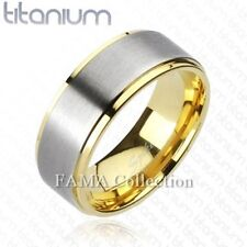 FAMA Solid TITANIUM Brushed Center Gold IP Edges Wedding Band Ring Size 9-12