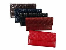 Genuine Eel Skin Leather - Women Mesh Long Purse Wallet Clutch