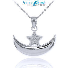10k White Gold Diamond Crescent Moon and Star Islamic Pendant Necklace