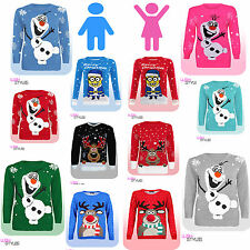 Kids OLAF / MINION CHRISTMAS JUMPER Xmas Sweater Frozen Childrens Boys Girls